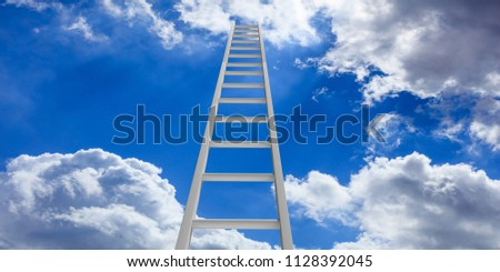 Stairway to heaven. Metal ladder on blue sky with clouds background. 3d illustration