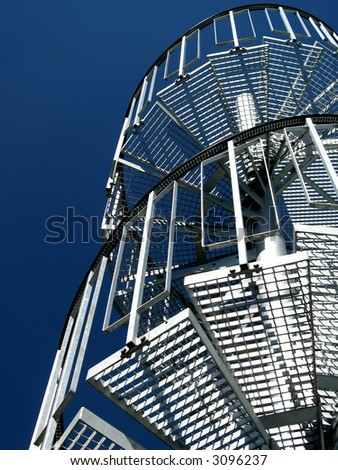 stairway to heaven - outdoor stairway leading into deep blue sky