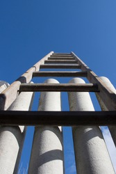 Stairway to Heaven. Stairs against a Beautiful Blue Sky.