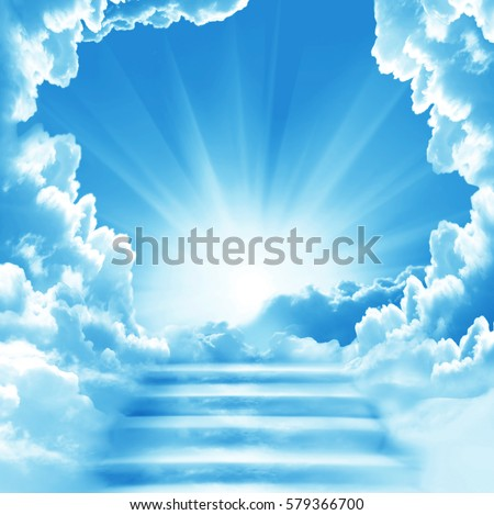 Stairway to Heaven.Stairs in sky.  Concept with sun and white clouds.Concept  Religion  background Stockfoto ©
