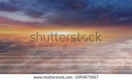 Stairway to heaven . Steps leading up to the sun.  Way to God . Light from sky