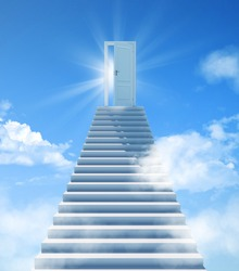 Stairway to Heaven. The stairs at the end are the doors to success. Door of Paradise, meeting with God