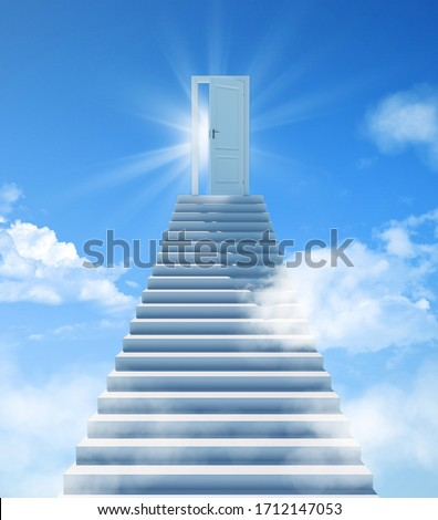 Stairway to Heaven. The stairs at the end are the doors to success. Door of Paradise, meeting with God Сток-фото ©