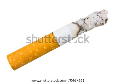 stairway to hell out of cigarettes isolated on a white background