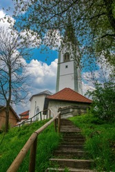 Stairway to St. Peter Church in Radovljica, Slovenia. Radovljica is a popular tourist attraction near famous Bled Lake