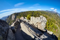 Stairway to the top of Moro Rock, unique granite dome rock formation in Sequoia National Park, USA.