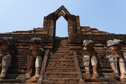 Stairway to the Wat Chang Rob temple at Kamphaeng Phet Historical Park