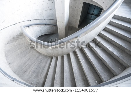 stairway with modern building