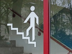 Stairwell pictogram on glass pane