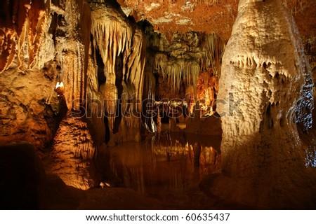 stalactites and stalagmites in a cave Beredine, Croatia