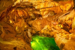Stalagmite and stalactite in Grutas da Moeda Cave. Fatima, Portugal