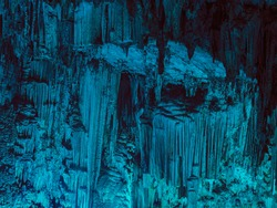Stalagmite and stalactites, Inside the Melidoni cave. Crete. Greece