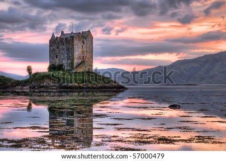 Stalker castle, Highlands, Scotland, seen at dusk