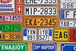 Stall of a car number plates maker in Athens, Greece