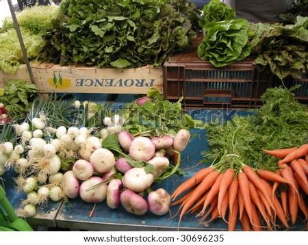 Stall of vegetables to the market