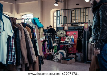 stall of vintage secondhand...