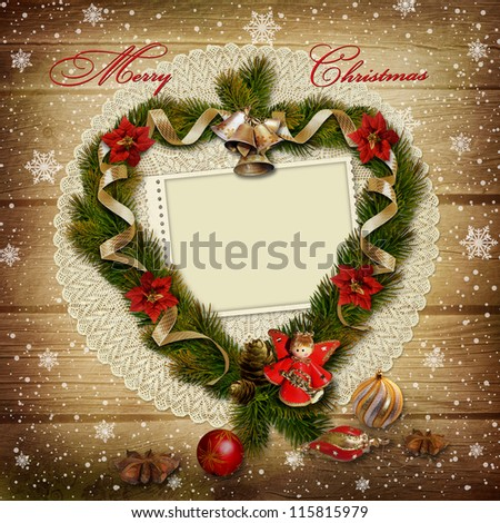Stamp-frame with wreath of pine branches on snowy wooden background