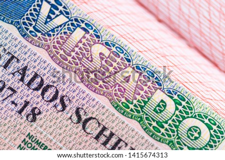 Stamp in the passport for travel and entry into Spain.  Foto stock ©