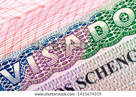 Stamp in the passport for travel and entry into Spain. Schengen visa Foto stock ©
