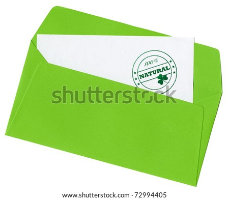 "Stamp ""100% natural"" with clover symbol on a blank letter in open green envelope, isolated on white background"
