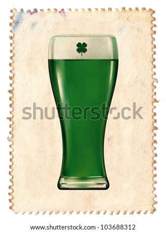 stamp of green glass of beer