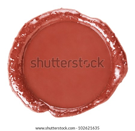 Stamp of sealing-wax, isolated on white background