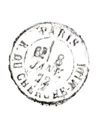 stamp Rue du Cherche Midi Paris isolated on white