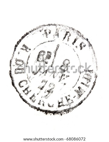 stamp Rue du Cherche Midi Paris isolated on white