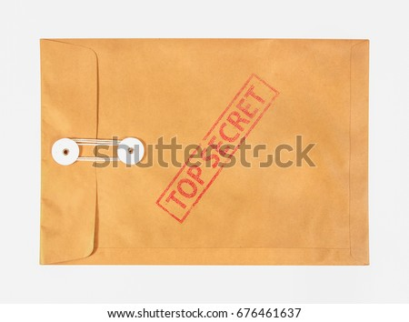 Stamp top secret on the brown envelop file ,isolated on white background Stock photo ©