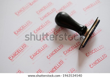 stamp with cancellation word on white paper background Foto stock ©