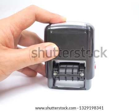 stamping rubber stamp for date stamp of office stationery on white background  #1329198341