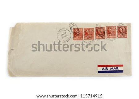 Stamps and air mail label on old envelope. 1946