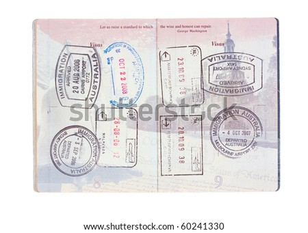 Stamps from Australia, Italy, the Netherlands and USA in a United States passport isolated on white - stock photo