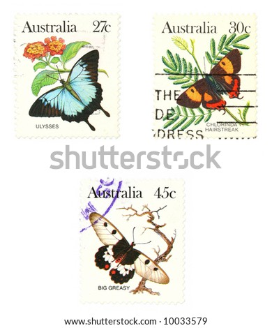 Stamps from Australia. Set with butterflies: Ulysses butterfly (Papilio ulysses), Silky Hairstreak (Pseudalmenus chlorinda), The Clearwing Swallowtail A.K.A. Big Greasy Butterfly (Cressida cressida)