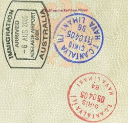 stamps of australia and turkey in german passport