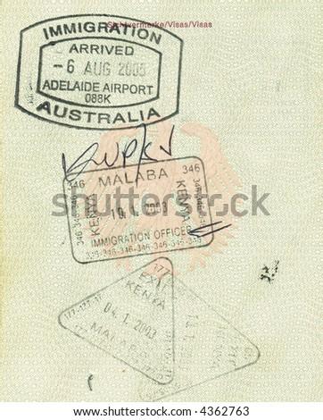 stamps of kenya and australia in german passport