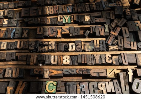 stamps of letters and numbers to print on a press