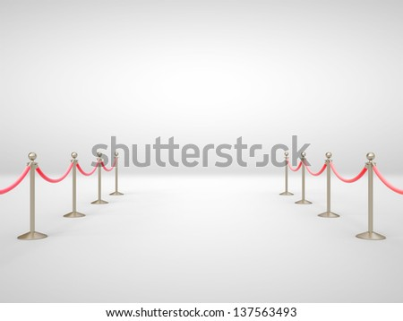 stanchions barrier in gray room