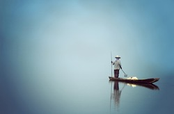 Stand Alone Fisherman on a still lake from the boat,  Feeling peaceful, quiet, composed, undisturbed. Process in Art Style.