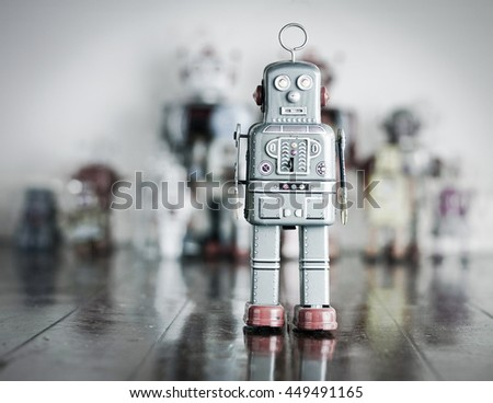 stand alone robot on wooden...