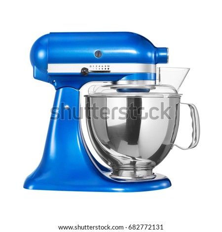 Stand Mixer Isolated on White Background. Blue Standing Mixer. Food Mixer. Kitchen Appliances. Household Appliances. #682772131