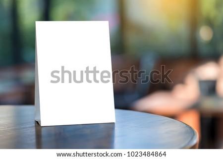 Stand  Mock up Menu frame  tent card  blurred background  design key visual layout. #1023484864