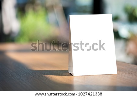 Stand  Mock up Menu frame  tent card  blurred background  design key visual layout. #1027421338
