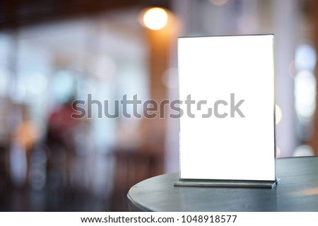 Stand  Mock up Menu frame  tent card  blurred background  design key visual layout ONLINE ADVERTISING #1048918577