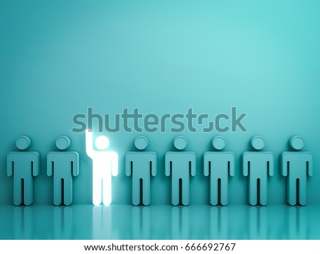 Stand out from the crowd and different concept , One glowing light man raising his hand among other people on green background with reflections and shadows . 3D rendering.