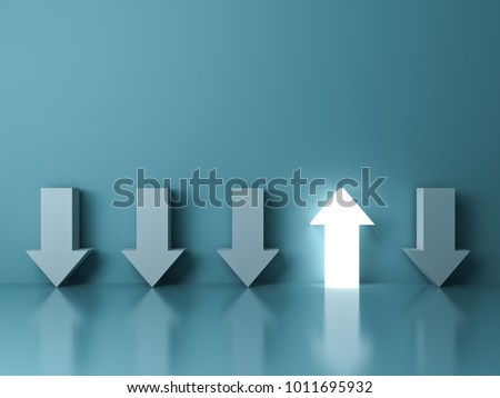 Stand out from the crowd and different concept , One glowing light up arrow among other down arrows on green pastel color background with reflections and shadows . 3D rendering.