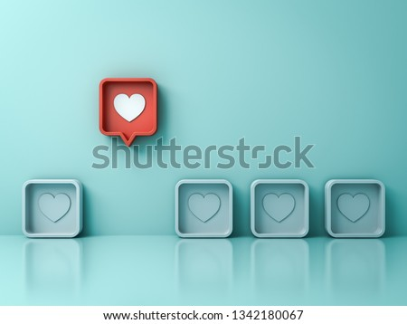 Stand out from the crowd and different creative idea concept One red 3d social media notification Love like heart icon pin pop up from others on light green pastel color wall background 3D rendering