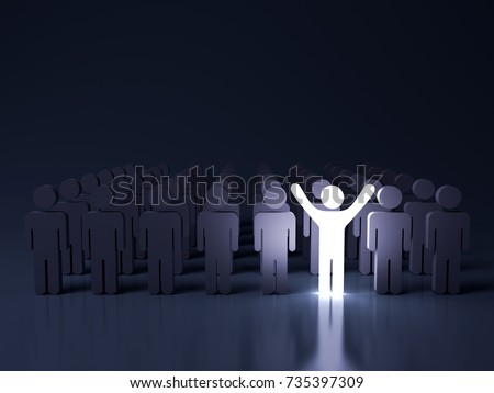 Stand out from the crowd and different creative idea concepts , One glowing light man standing with arms wide open among other people in the row on dark blue background with reflection . 3D rendering. ストックフォト ©