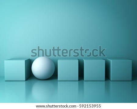 Stand out from the crowd and different creative idea concepts , One white sphere standing among green square boxes on green background in the row with reflections and shadows . 3D rendering.