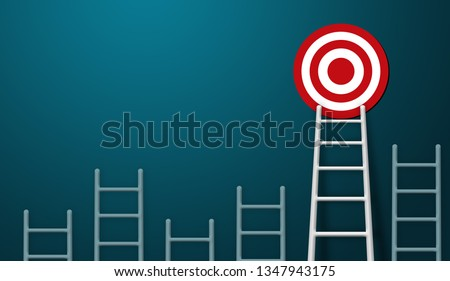 Stand out from the crowd and think different creative idea concepts. Longest white ladder and aiming high to goal target